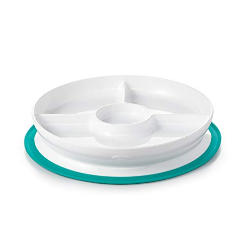 OXO Tot Stick & Stay Suction Divided Plate, Teal