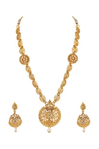 Queen-Be-Exclusive-Designer-Collection-Gold-Plated-Traditional-Finely-Crafted-Station-Pendant-Chain-Necklace-Set-for-Women-for-Women-Girls