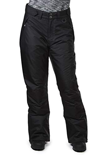 Swiss Alps Womens Deep Black Insulated Zip-Up Ski Snow Pants, 3XL