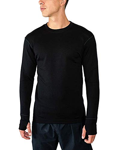 Woolx Mens Glacier Heavyweight Merino Wool Base Layer Shirt For Extreme Warmth, Black, XX-Large