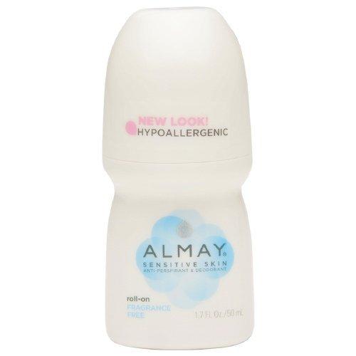 Almay Anti-Perspirant & Deodorant, Sensitive Skin, Roll-On, Fragrance Free 1.7 oz (Pack of 4)