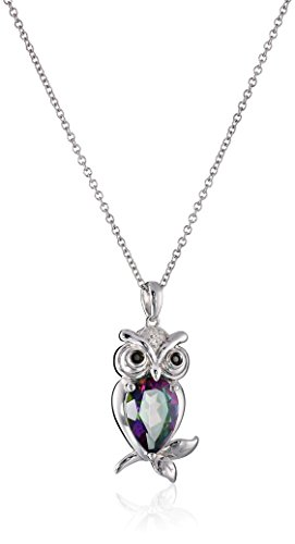 Sterling silver with mystic fire topaz black diamond and white sterling silver with mystic fire topaz black diamond and white diamond owl pendant necklace mozeypictures Images