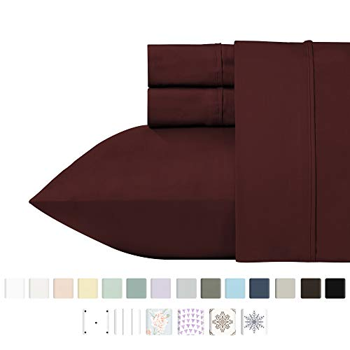 California Design Den 400 Thread Count Solid Cal King Sheet Set (3 pc, Red Wine) - 100% Pure Natural Cotton Bed Sheets, Long-Staple Combed Pure Natural Cotton Bedsheets, Soft & Silky Sateen Weave
