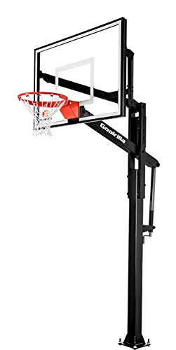 Goalrilla FT54 Basketball Hoop with Tempered Glass Backboard, Black Anodized Frame, and In-ground Anchor System