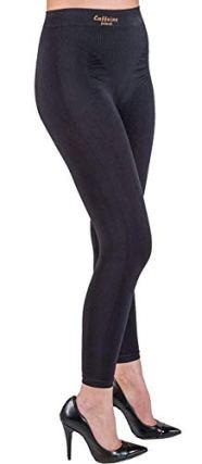 Elegant Anti Cellulite Leggings with Push up and Caffeine + Vitamin E - Black size M