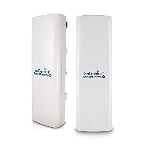 EnGenius 5GHz Wireless Outdoor AP/Client Bridge/CPE, directional antenna, long-range, point-to-point, IP65, 27dBm,13 dBi, [2-Pack] (N-ENH500 KIT)