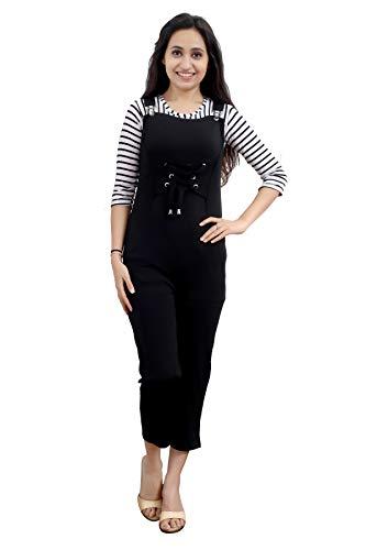 ELENDRA Girl's Casual Wear Slim Fit Stretchable Soft Fabric Jumpsuit (JKBGJS, Black, 12-13 Years)