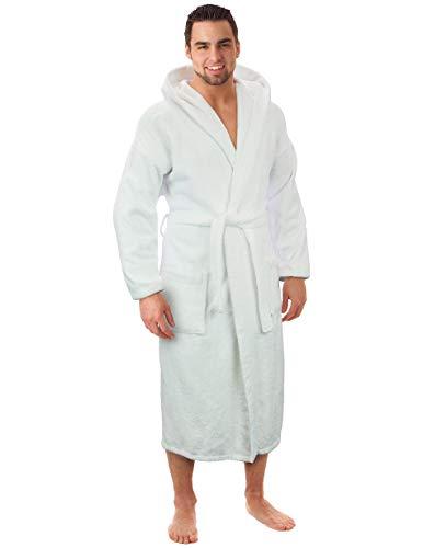 Hooded Terry Bathrobe for Women and Men, Turkish Cotton Terry Cloth Robe (White, XX-Large)