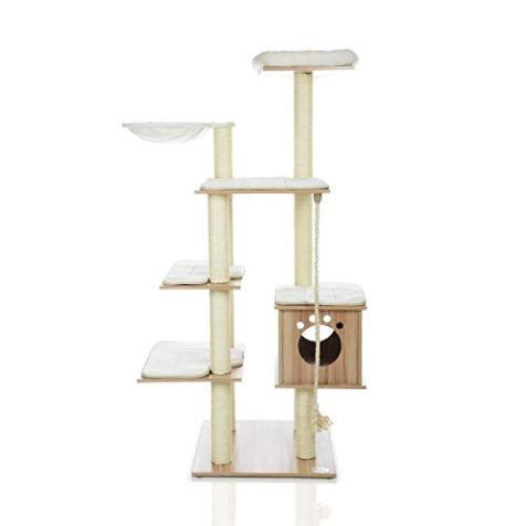 LAZY-BUDDY-68-Wooden-Cat-Tree-New-Arrival-Modern-Cat-Tower-6-Levels-for-Cats-Activity-Cat-Furniture-with-Removable-and-Washable-Mats-for-Kittens-Large-Cats-and-Pets-Large