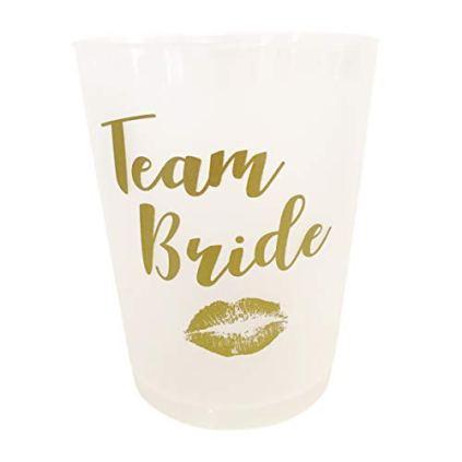 Gobelets-pour-enterrement-de-vie-de-jeune-fille--Lot-de-10-Blanc-et-dor--Team-Bride--quipe-de-la-future-marie
