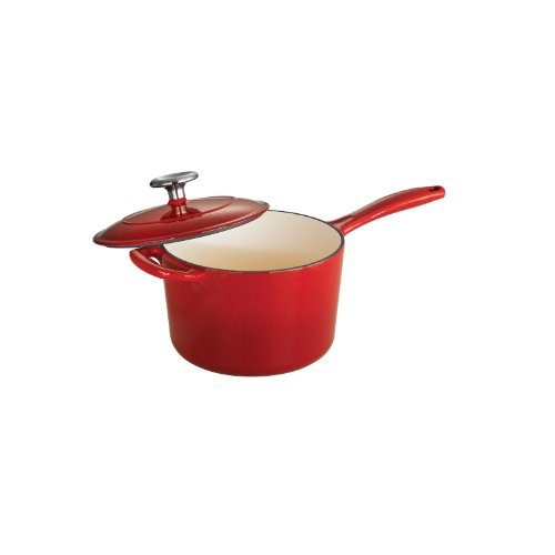 Tramontina Enameled Cast Iron Covered Sauce Pan, 2.5-Quart, Gradated Red