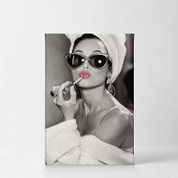 Audrey Hepburn Wall Art Makeup Pink Lipstick CANVAS PRINT Iconic Pop Art Pretty Beauty Black and White Home Decor Artwork Gallery Stretched and Ready to Hang – %100 Handmade in the USA – 12×8