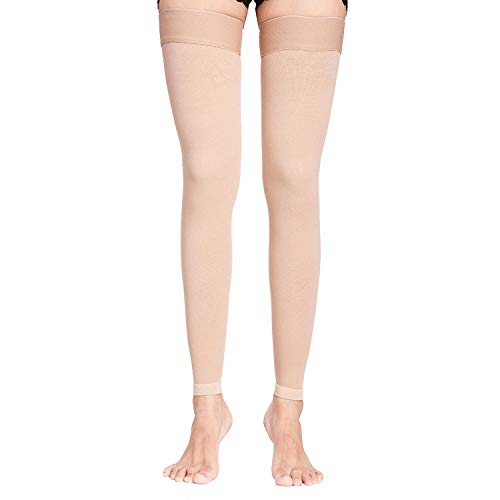 KEWIAR Thigh High Compression Socks for Men,Women - 20-30 mmHg Medical Graduated Compression Stockings for Varicose Veins,Swelling - Footless Compression Sleeves Leg Support Hose (Beige, Large)