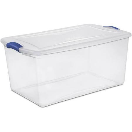 Sterilite 66 Quart See Through Storage Box- Stadium with Latching Lid and Blue Handle, Case of 6