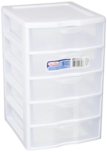 STERILITE 1 New 20758004 Clearview Small 5 Drawer Desktop Storage Unit White