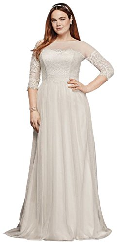 Plus Size Wedding Dress with Lace Sleeves Style 9WG3817