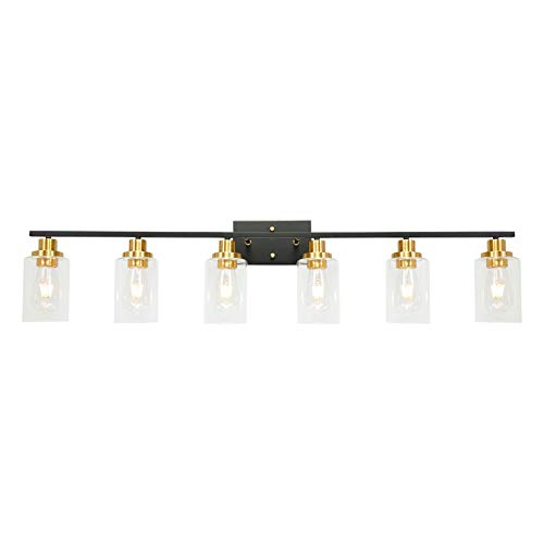 6-Light-Black-Vanity-Light-with-Clear-Glass-Shade-Modern-Brass-Bathroom-Light-Fixtures-Wall-Mount-Lamp-for-Bathroom-Dressing-Table-Bedroom-Vanity-Table-Kitchen-Cabinets