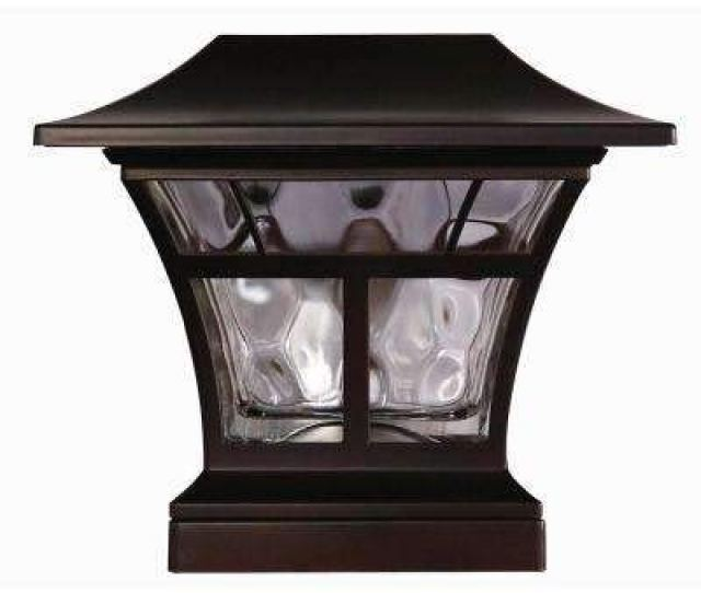 Hampton Bay Solar Powered Outdoor Mediterranean Bronze Integrated Led K Warm White Landscape Post Cap Light Amazon Com