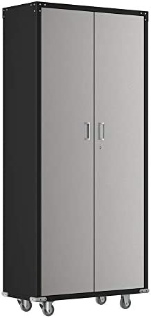 Bonnlo Steel Garage Storage Cabinet with Lock Metal Rolling Utility Cabinet with 4 Adjustable Shelves for Garage, Kitchen, Office, 74-Inch Tall