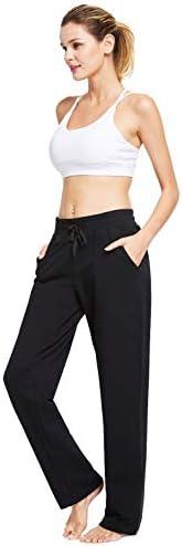 BALEAF Women's Cotton Leisure Drawstring Yoga Sweatpants Straight Bottom Leg Lounge Walking Wide Pajamas Pocketed 5
