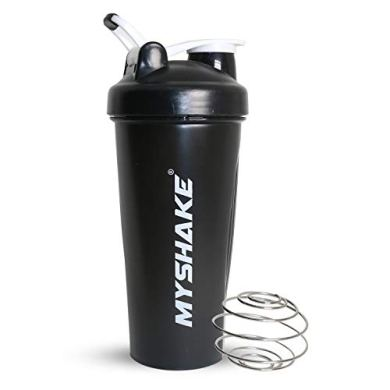 Myshake Classic Protein Shaker Bottle for Gym with Silicon Flip 600 ml - (Black) 27