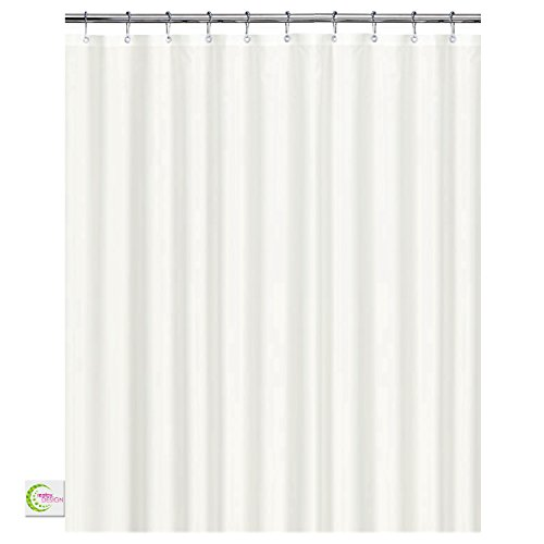 Mildew Resistant Fabric Shower Curtain - 72x72 White polyester Curtain for Bathroom - Waterproof Odorless Eco Friendly Anti Bacterial - Heavy Duty Metal Grommets - Creatov Design