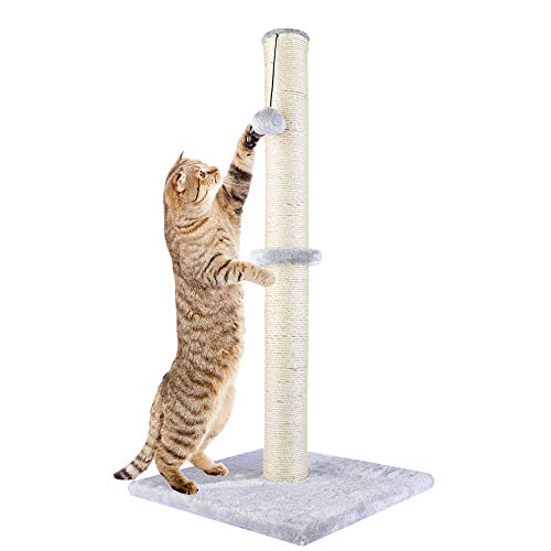 """Dimaka 29"""" Tall Cat Scratching Post, Claw Scratcher with Sisal Rope and Covered with Soft Smooth Plush, Vertical Scratch [Full Strectch], Modern Design 29 Inches Height 1"""