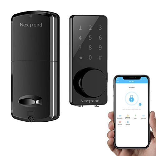 [Newest]Smart Deadbolt, NexTrend Smart Electronic Door Lock with Bluetooth Keyless, Touchscreen, Mechanical Keys Automatic Lock & Alarm for Home/Hotel/Apartment, Black