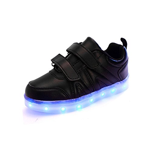 SLEVEL Kid Boy Girl Upgraded USB Charging LED Light Sport Shoes Flashing Sneakers Comfortable