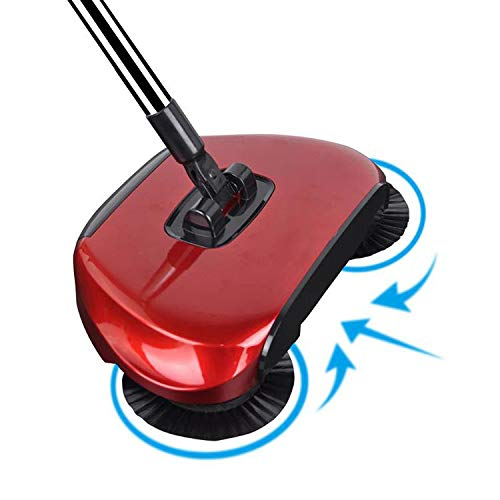 360 Rotary Manual Floor Dust Sweeper Household Cleaning Hand Push Sweeper Broom Without Electricity 3 in 1 Portable Sweeping Machine Lake (Red)