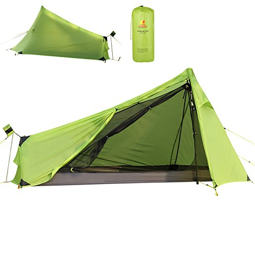 Andake 780G Ultralight One Man Camping Tent, 15D Ultra-Thin Ripstop Nylon, Double-Side Silicone Coated, Water-Resist, Crease-Resist, Compact Backpacking Tent (No Main Pole)