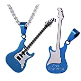 U7 Men Women Music Lover Jewelry Gift Ion-Plating Blue Metal Stainless Steel R&B Rock Electric Bass Guitar Pendant Necklace, Chain 22', Free Engraving Both Sides