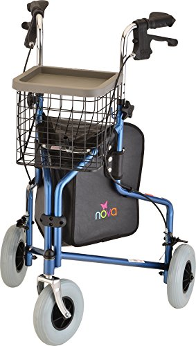 NOVA Traveler 3 Wheel Rollator Walker, All Terrain 8' Wheels, Includes Bag, Basket and Tray, Blue