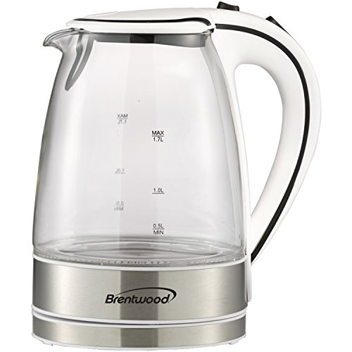 Brentwood  KT-1900W  1.7L  Cordless  Glass  Electric  Kettle,  White