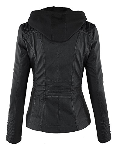 Lock and Love Women's Hooded Faux Leather Moto Biker Jacket (XS~2XL) 3 Fashion Online Shop gifts for her gifts for him womens full figure