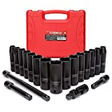 CASOMAN Complete 1/2-Inch Drive Deep Impact Socket Set, Metric, CR-V,10-24mm, 6 Point, 19-Piece Sockets Set with Extension Bar and Universal Joints