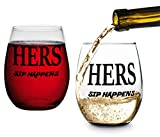 Hers and Hers, Sip Happens, Lesbian Couple Gifts, Stemless Wine Glasses, Perfect for Wedding, Anniversary, Newlyweds, Gay and Housewarming Gifts LGBT