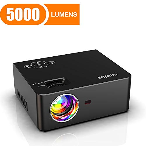 """Mini Projector, WiMiUS 5000 Lumens Portable Video Projector, Full HD 1080P 200"""" Screen 60000Hrs Led Supported, Outdoor & Home Movie Projector Compatible with Fire TV Stick, PS4, Laptop, Smartphones"""