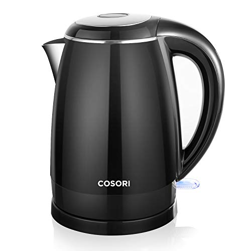 COSORI Electric Kettle(BPA Free), 1.8 Qt Double Wall 304 Stainless Steel Water Boiler, Coffee Pot & Tea Kettle, Auto Shut-Off and Boil-Dry Protection, Cordless,FDA/ETL/CETL Approved, 2 Year Warranty