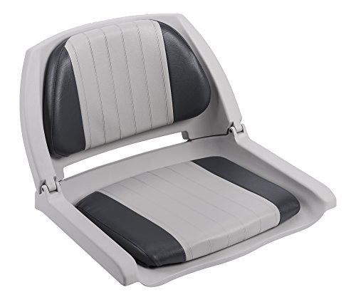 Wise 8WD139 Series Molded Fishing Boat Seat with Marine Grade Cushion Pads, Grey Shell, Grey/Charcoal Cushion