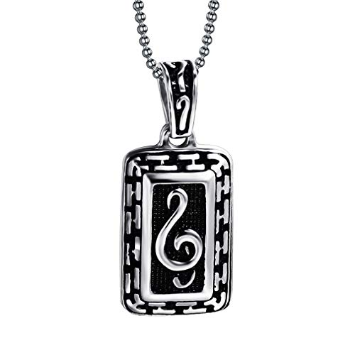 UM Jewelry Mens G-Clef Music Note Tag 316L Stainless Steel Pendant Necklace Silver Black