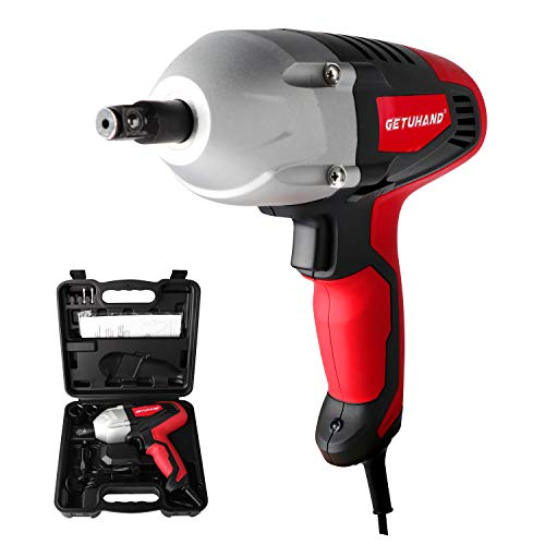 GETUHAND Electric Impact Wrench 1/2 Inch & 12 Volt 400N.M 300ft-lbs Max Torque with 1/2' Strong Square Drive, Portable Car Impact Wrench Kit with Sockets and Carry Case