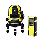 Firecore FIR411G Green Beam Lithium-Ion Self-Leveling Outdoor Multi-Line Laser - Four Vertical and One Horizontal Lines with Down Plumb Dot, Detector, Hard Carrying Case Included