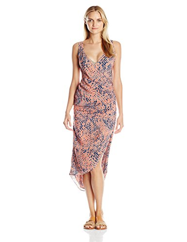 81kqud7fuKL Sleeveless cover-up dress in allover python featuring warp front, plunging V-back, high slit, and high/low hemline Snap-front closure