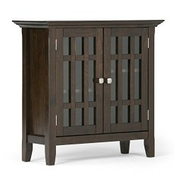 Simpli Home Bedford Solid Wood 32 inch Wide Rustic Low Storage Media Cabinet in Dark Tobacco Brown