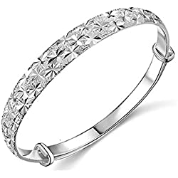 Botrong Unique Design Fashion Jewelry Womens Charm Bangle Bracelet Gift (Silver)