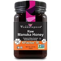 Wedderspoon Raw Premium Manuka Honey KFactor 16+, 17.6 Ounce