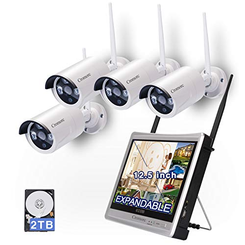 [8CH,Expandable]All in one with 12.5' Monitor Wireless Security Camera System, Cromorc Home Business CCTV Surveillance 8CH 1080P NVR Kit, 4pcs 1.3MP 960P Outdoor Night Vision IP Camera, 2TB Hard Drive