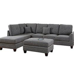 Poundex PDEX-F6511 2-Pcs Sectional Sofa, Grey