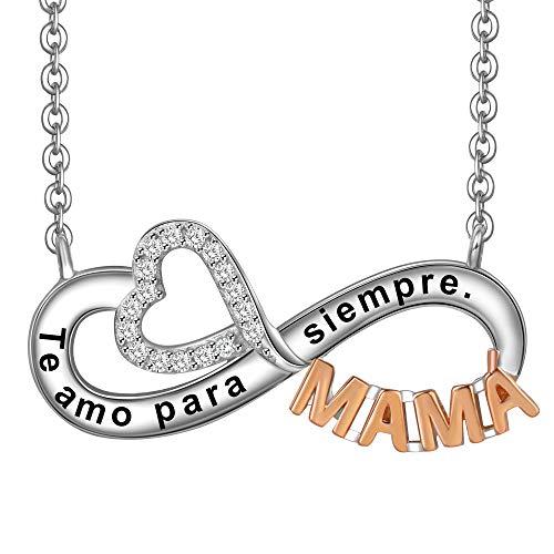 785cf093492c ... Collar Mujer Grabado Plata de Ley 925 Colgante Corazón y Infinito  Regalo Madre Mamá Novia o Esposa. 🔍. 1  2